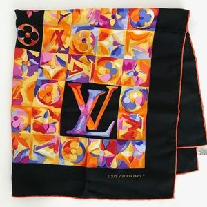 NWOT! Vintage Louis Vuitton Silk Scarf Black